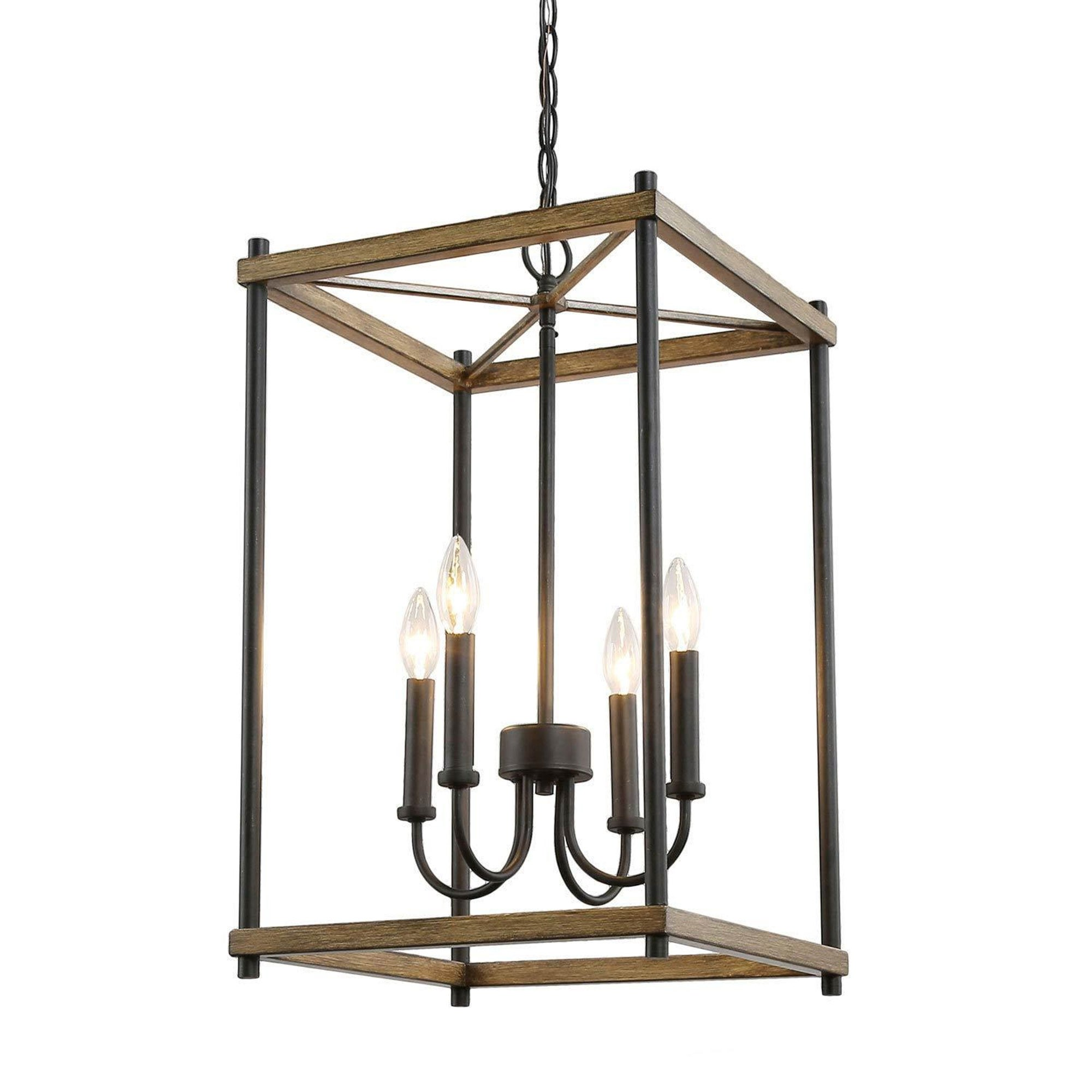 Picture of: Modern Farmhouse 4 Lights Lantern Candle Chandelier Faux Wood Pendant Kitchen Island Lighting For Dining Room Overstock 30722022