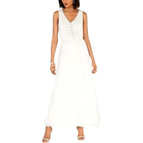 MSK Womens Maxi Dress Floral Smocked Waist - Ivory - 8