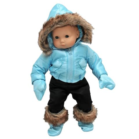 "15"" Doll Clothes for American Girl Bitty Baby & Twins Blue Snow Suit Jacket, Pants, mittens & Boots"
