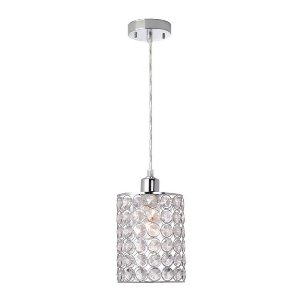 "Globe Electric 65012 1 Light 7"" Wide Pendant with Chrome and Crystal Cylinder Shade"