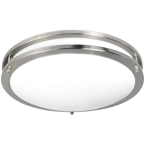 Luxrite LED Flush Mount Ceiling Light, 16 Inch, Dimmable, 1960 Lumens, 26W, Energy Star, Damp Rated