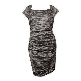 Alex Evenings Women's Cold Shoulder Embellished Dress - Pewter - 22W