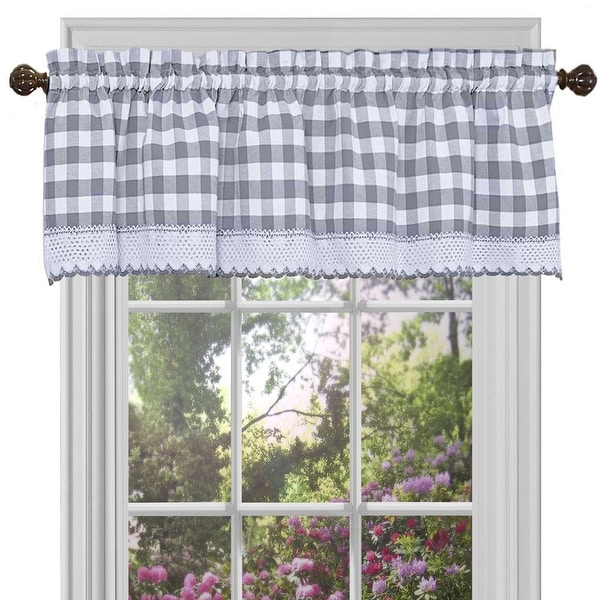 Tailored Valance French Country Brindle Gray Gingham Check