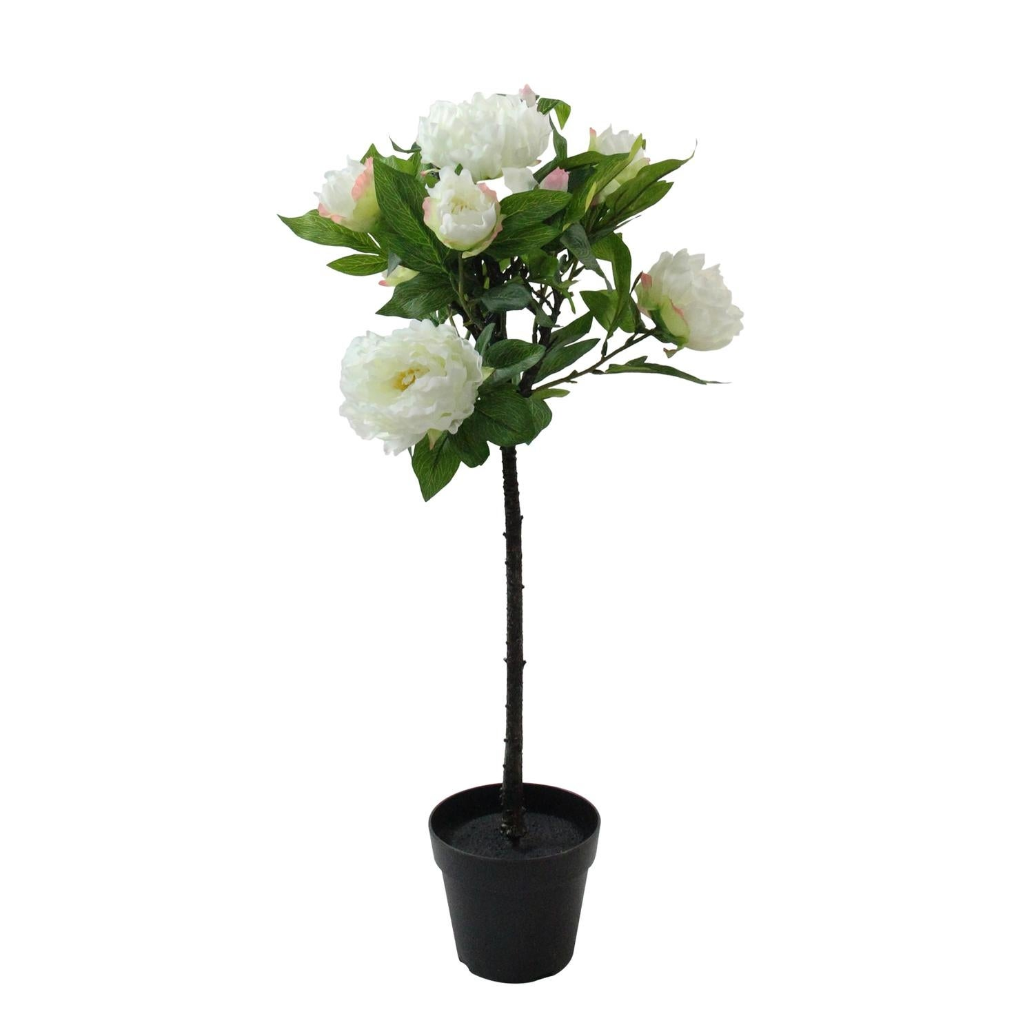 31 Ball Shaped Artificial Topiary Tree With Large White Flowers Potted Plant Decoration Overstock 18874644