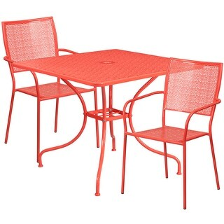 Westbury 3pcs Square 35.5'' Coral Steel Table w/2 Square Back Chairs