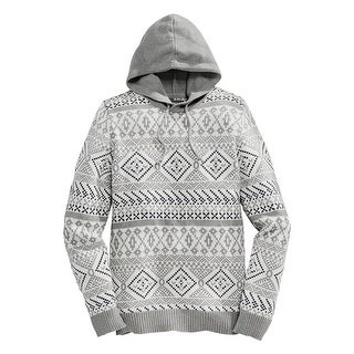 American Rag Hooded Fair Isle Sweater Fresh Mist Grey and White X-Large