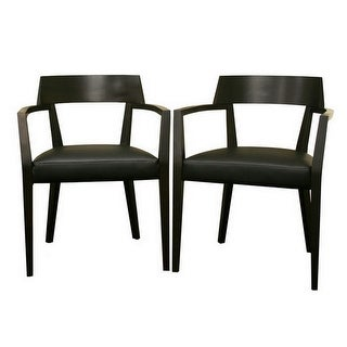 Laine Wenge Wood & Faux Leather Modern Dining Chair - 2 Chairs