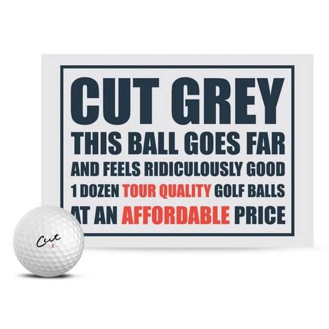 Cut Golf Cut Grey 3 Piece Urethane Pro Golf Balls (12 Pack)  White