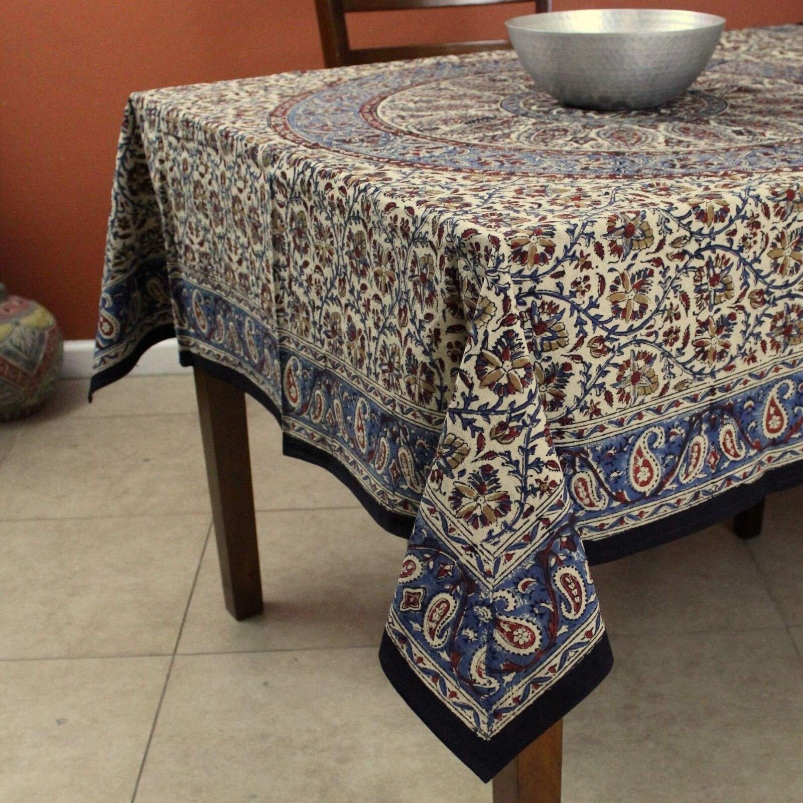 ... Kalamkari Mandala Floral Paisley Block Print Cotton Tablecloth  Rectangular 60x90 Inch Square 60x60 Round Napkins Placemats ...
