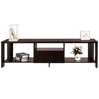 Gymax Media Console Cabinet Entertainment Center TV Stand with Drawer and Display Shelf - ESPRESSO