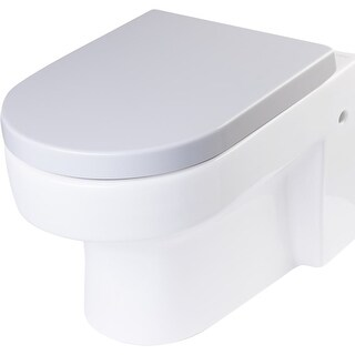 Eago R-101SEAT Elongated Closed-Front Toilet Seat with Soft Close Hinges - White
