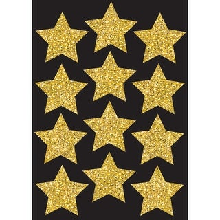 Die Cut Magnets 3In Gold Sparkle Stars