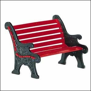 Village Red Wrought Iron Park Bench