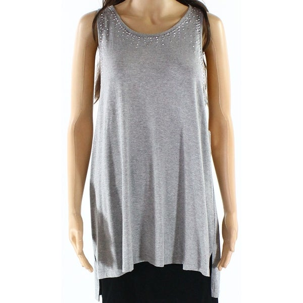 a670180a2cc424 Shop Vince Camuto NEW Gray Womens Size Medium M Shirttail Sequined Tank Top  - Free Shipping On Orders Over $45 - Overstock - 20510447