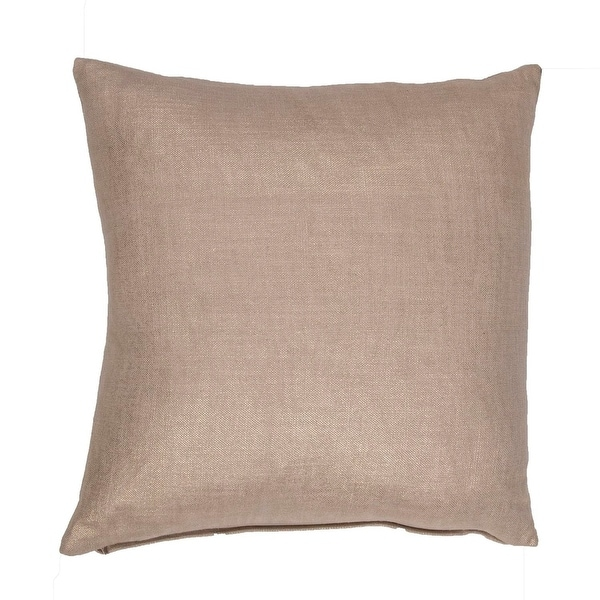 "18"" Champagne Beige Solid Square Glitter Decorative Throw Pillow"