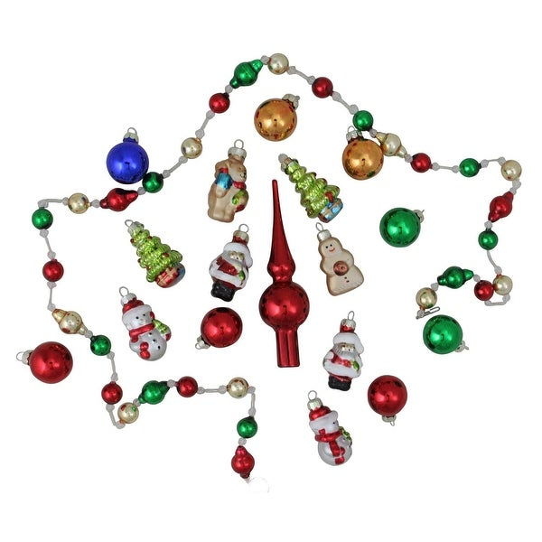 18-Piece Beaded Garland, Mini Tree Topper and Figure Christmas Ornament Set - GOLD