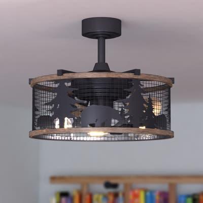 Kodiak Bear Bronze and Teak Rustic Ceiling Fan with Remote - 21-in. W x 18-in. H x 21-in. D