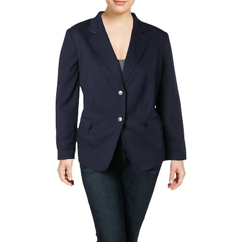Tahari ASL Womens Plus Two-Button Blazer Professional Office Wear