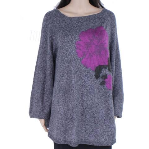 Style & Co Womens Sweater Gray Size 3X Plus Printed Jacquard Rib-Trim