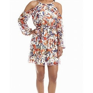 Guess NEW White Womens Size 0 Floral Print Cold Shoulder Blouson Dress