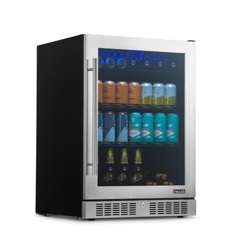 """NewAir 24"""" Built-in Premium 224 Can Beverage Fridgewith Color Changing LED Lights and Precision Temperature Controls NBC224SS00"""