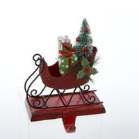 """6"""" Red Glitter Sleigh with Gifts and Tree Christmas Stocking Holder"""