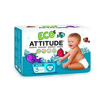 Attitude Eco Diapers Size 3 -- 30 Diapers