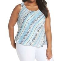 NIC + ZOE Blue Women's Size 2X Plus Stripe Print Sleeveless Blouse