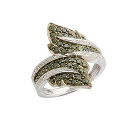 Superb 0.99Ct Round Brilliant Cut Green and White Diamond Fancy Bypass Ring