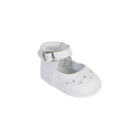 Girls White Stitch Scallop Detail Ankle Strap Baptism Dress Shoes