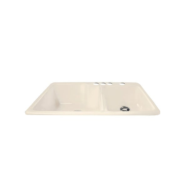 """Miseno MCI36-4TM 36"""" Cast Iron Double Basin Kitchen Sink for Drop In Installations with 60/40 Split & Sound Dampening Technology"""