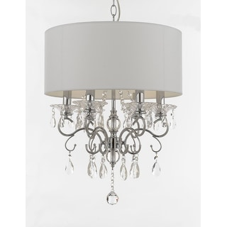 Link to Copper Grove Featherstonhaugh Crystal Drum Shade Chandelier Similar Items in Chandeliers