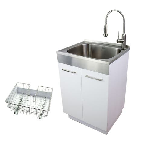 """Transolid 24-in Laundry Cabinet/Sink, Faucet, Basket, in Stainless - 23.6"""" x 19.7"""" x 34.6"""""""