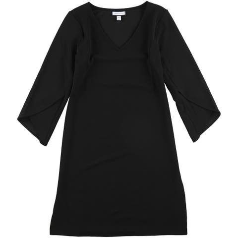 Charter Club Womens V-Neck Tulip-Sleeve Shift Dress, Black, Medium