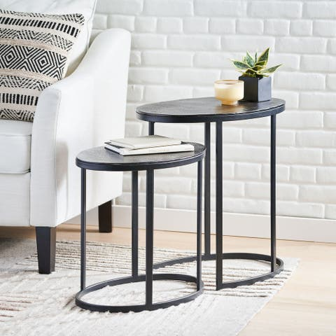 """Wahl Modern Handcrafted Aluminum Oval Nested Tables (Set of 2) by Christopher Knight Home - 23.25"""" L x 15.00"""" W x 22.75"""" H"""