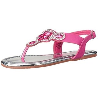 Kensie Girl Girls Flat Sandals Jeweled Faux Leather