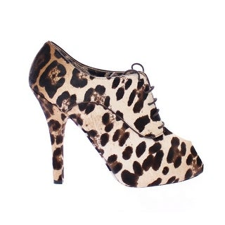 Dolce & Gabbana Brown Leather Fur Leopard Booties Shoes - 39