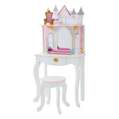 Teamson Kids - Dreamland Castle Play Vanity Set - White / Pink