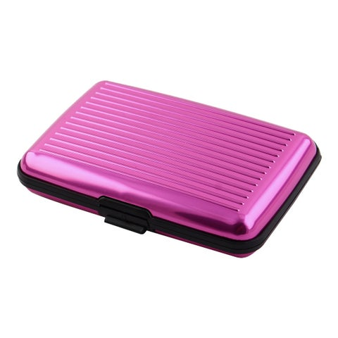 Household Office Metal 6 Pockets Credit ID Business Card Box Case Fuchsia