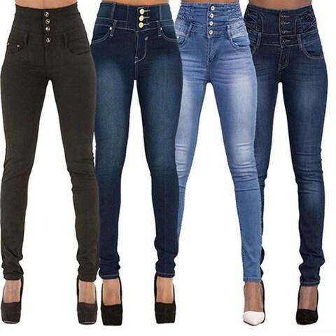 Women's Fashion High-Waist Skinny Stretchy Denim Jeans