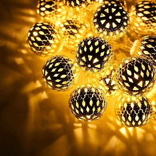 10ft Hollow Ball Battery Operated LED Christmas String Lights for Christmas, Holiday, Party, Event Decorative Lighting