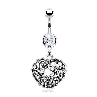 Stainless Steel Vintage Flower Garden in a Heart Loop Navel Belly Button Ring