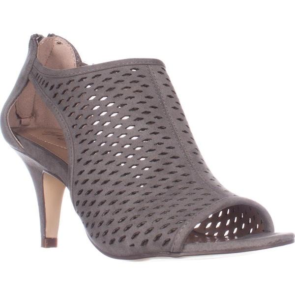 SC35 Haddiee Perforated Caged Peep Toe Heels, Dark Graphite