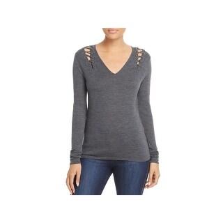 Elie Tahari Womens Decker V-Neck Sweater Merino Wool Lace Up