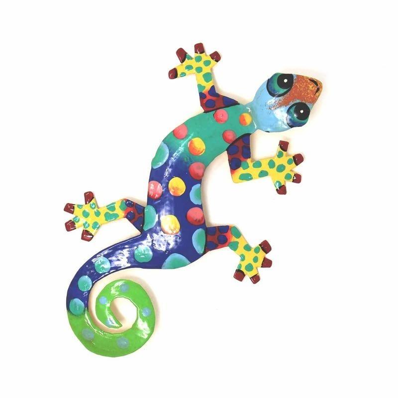 F Gecko hand painted metal wall art home decor