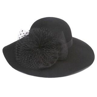 Womens Wool Floppy Sun Hat w/ Veiled Bow