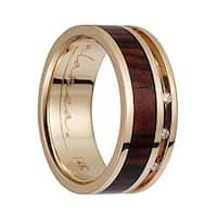 14K Yellow Gold Flat Wedding Band With Cocobolo Wood Inlay & 3 Diamond Setting - 8mm