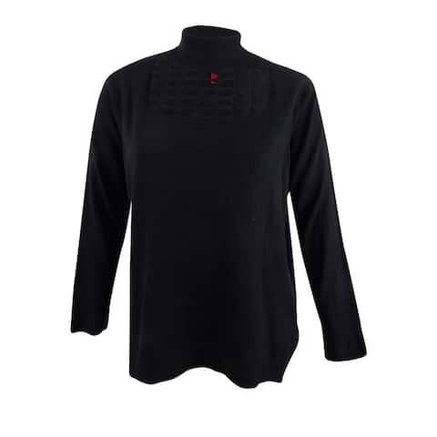 Love Scarlett Women's Plus Size Mock-Neck Cutout Sweater (2X, Black) - Black - 2X