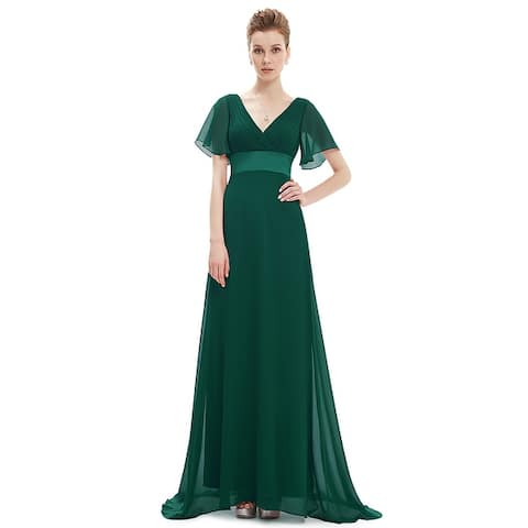 e79fc45b Ever-Pretty Womens Elegant V-Neck Ruched Chiffon Formal Evening Prom Party  Dress 09890