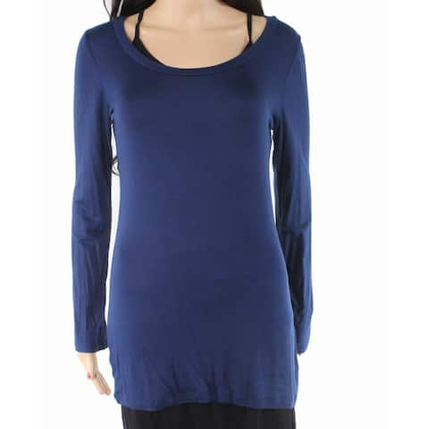 Soprano Women's Top Blouse Navy Blue Size Large L Tee T-Shirt Long Sleeve